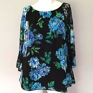 Slinky Brand Floral Lace Overlay Top. Large